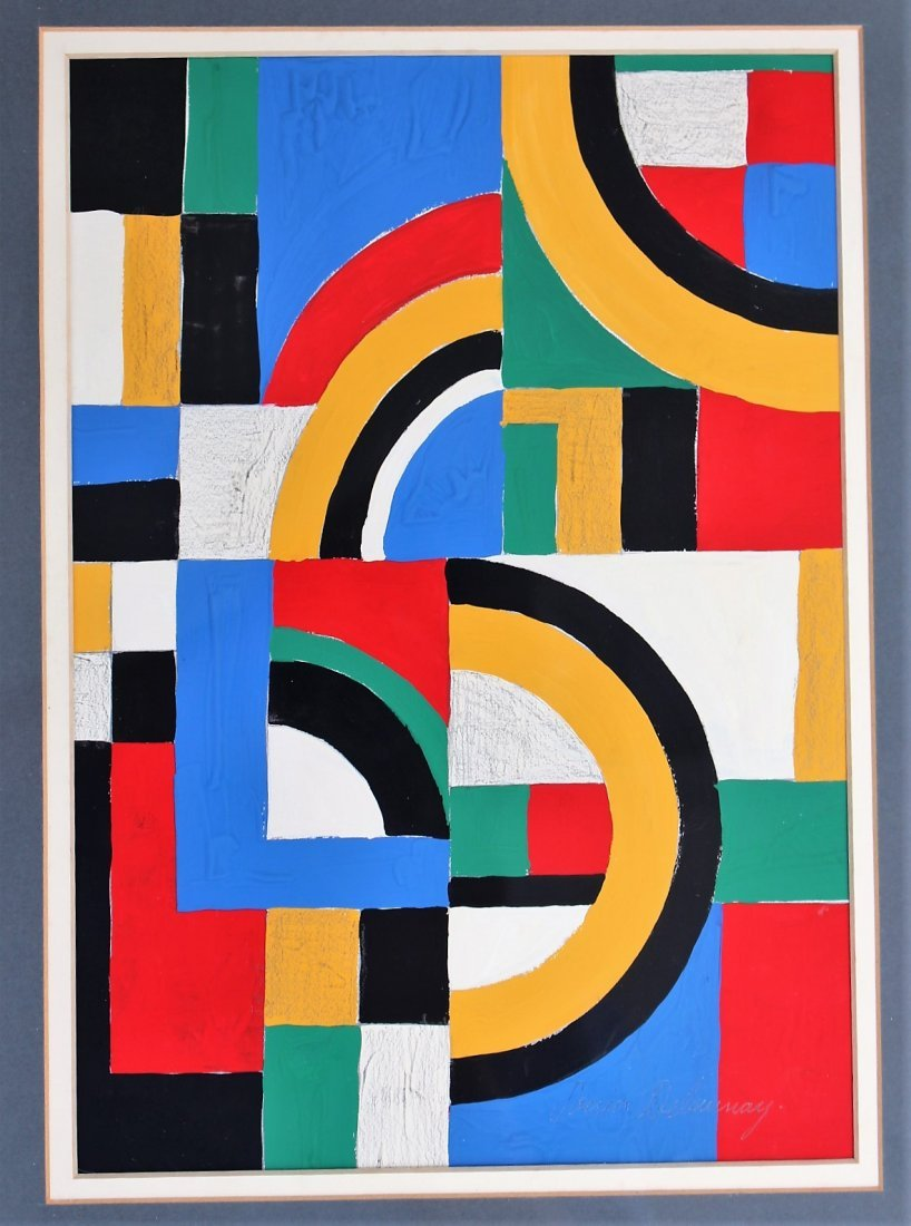 SONIA DELAUNAY , Gouache on Paper COLORFUL ABSTRACT - 2