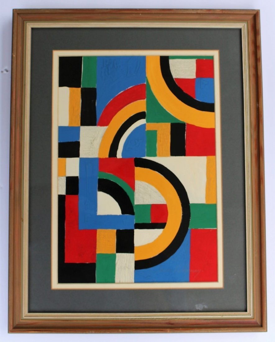 SONIA DELAUNAY , Gouache on Paper COLORFUL ABSTRACT - 3