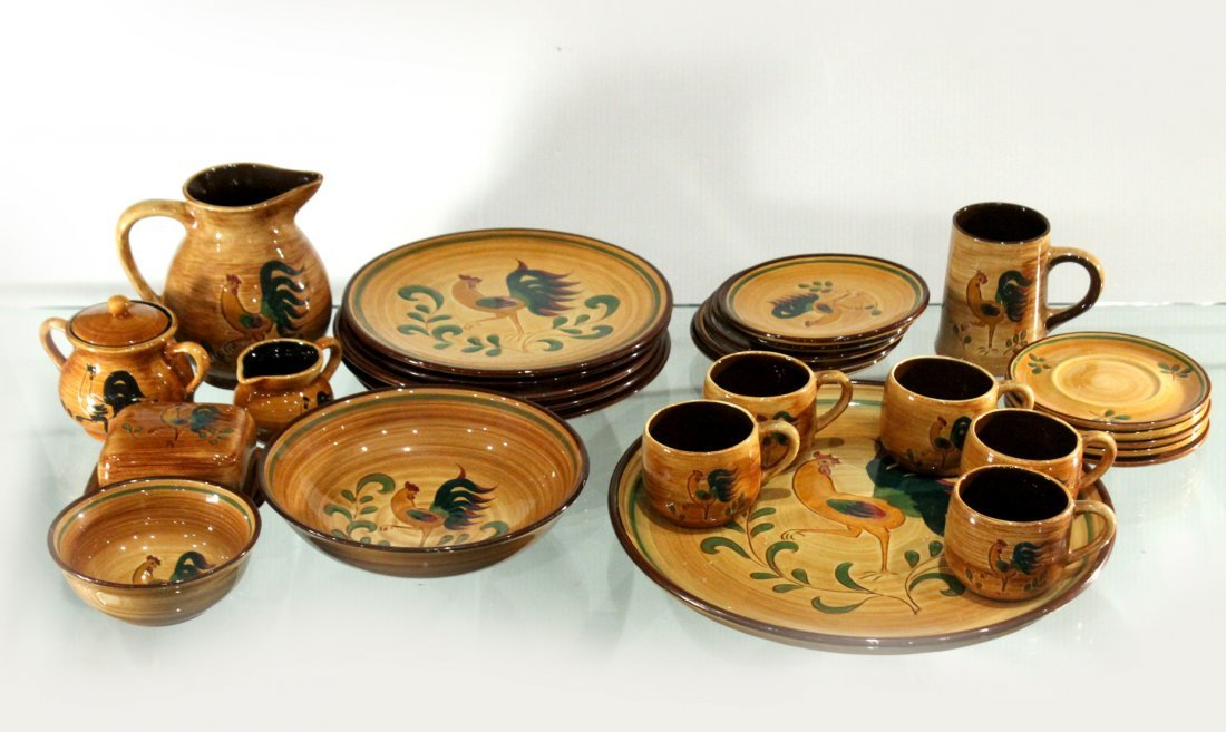 Rooster Pennsbury Pottery Dinner Set
