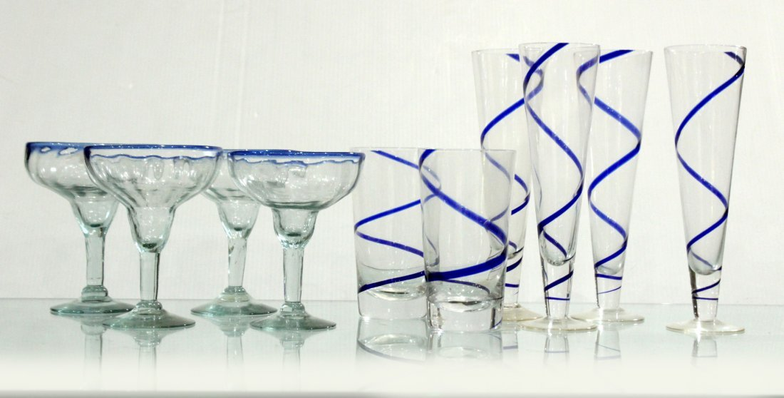 Mid-Century blue swirl glassware