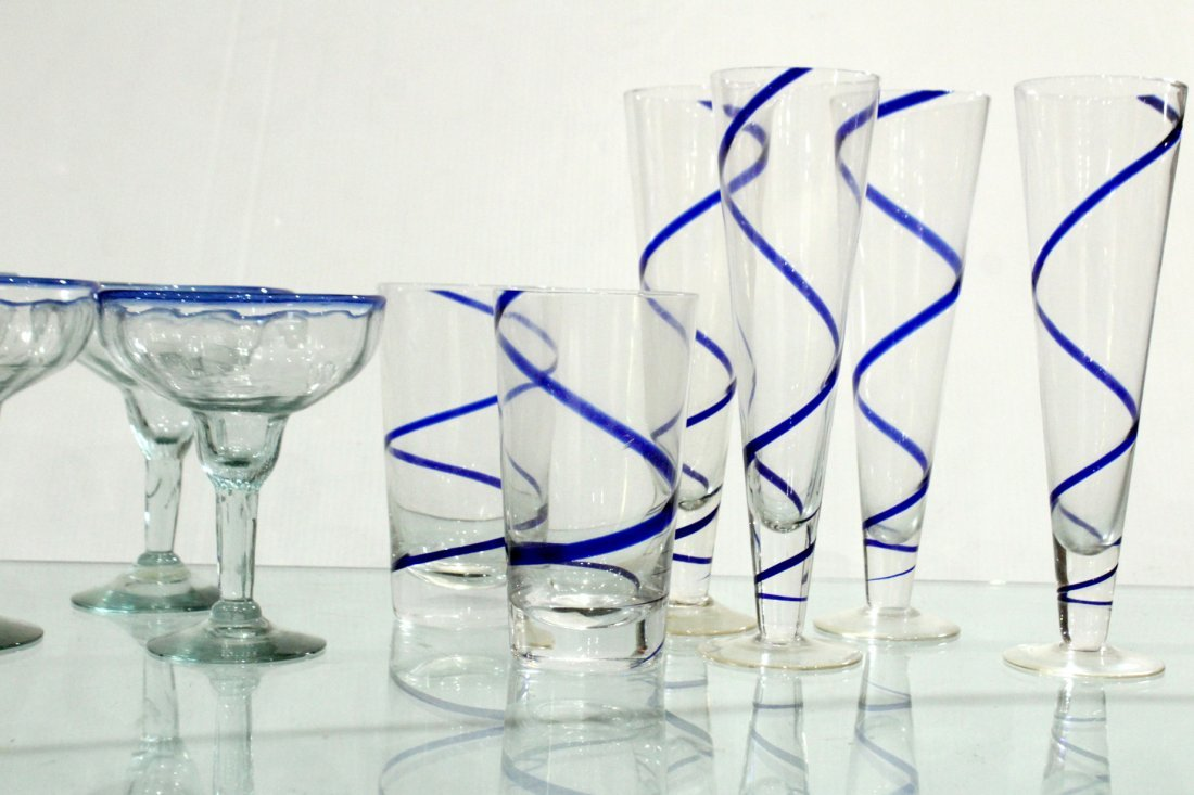 Mid-Century blue swirl glassware - 3