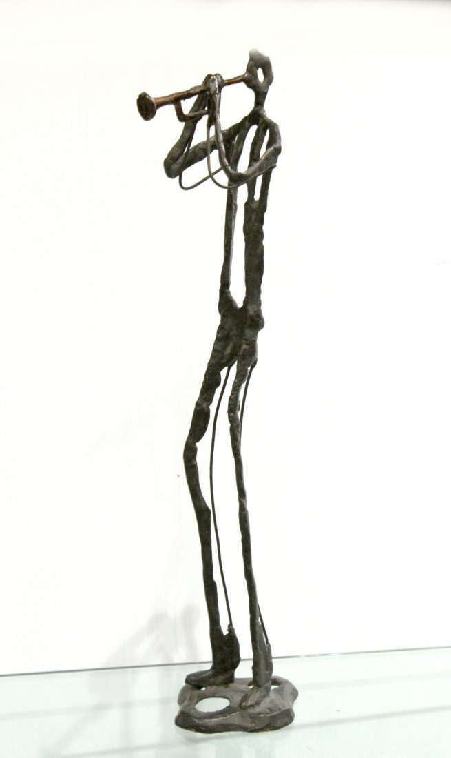 Manner of GIACOMETTI Bronze Jazz Trumpet Player Sculpt