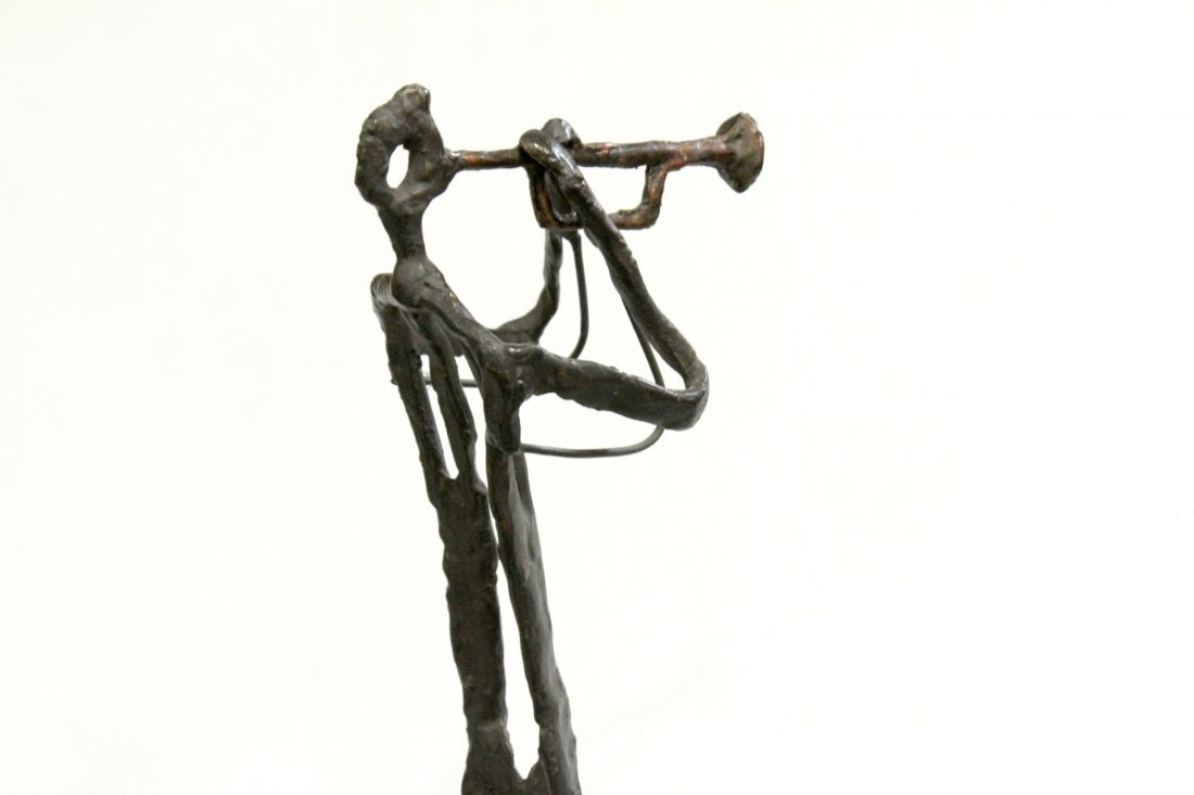 Manner of GIACOMETTI Bronze Jazz Trumpet Player Sculpt - 5