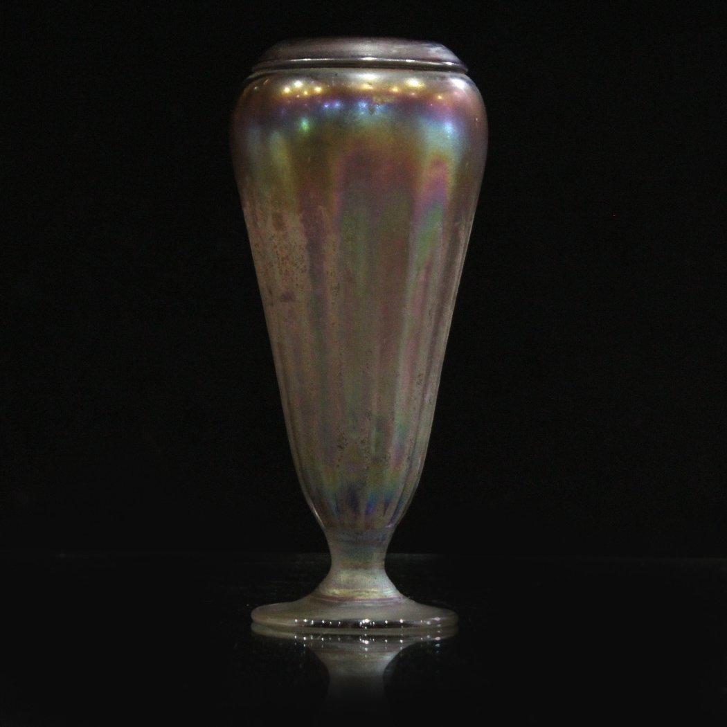 Iridescent studio art glass vase