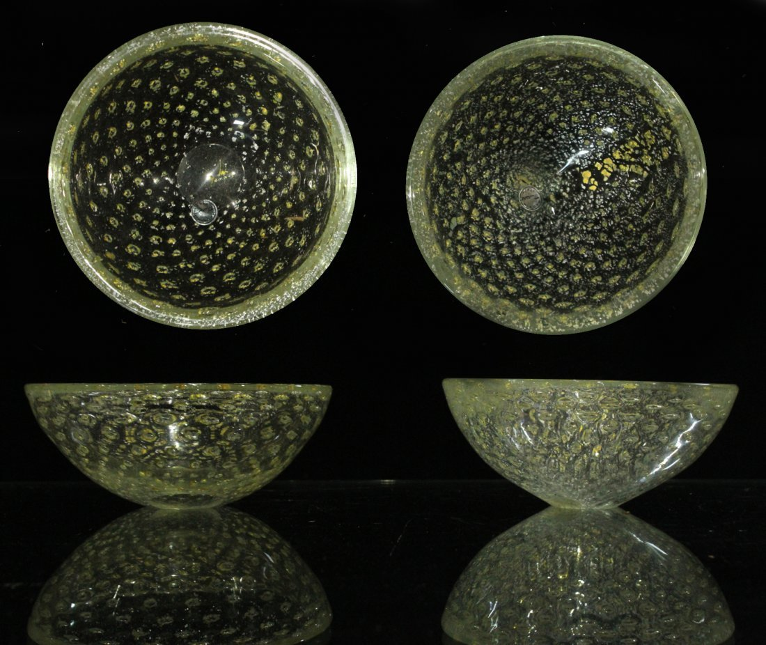 Vintage Mid-Century silver fleck Murano bowls