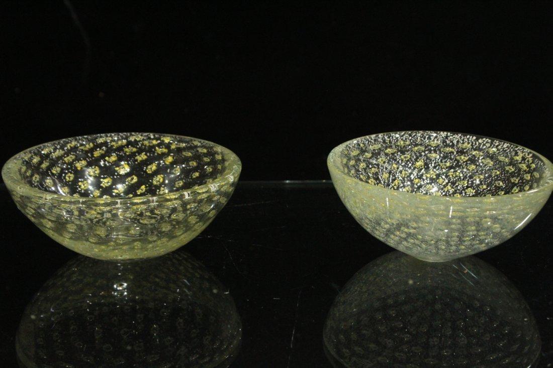 Vintage Mid-Century silver fleck Murano bowls - 5