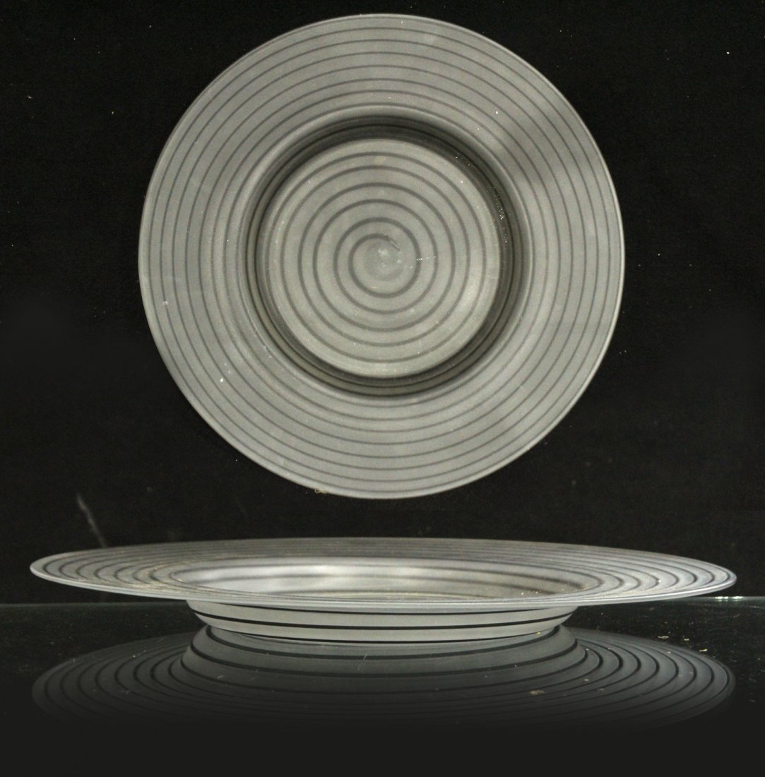 Large Mid-century Satin hand blown charger swirl
