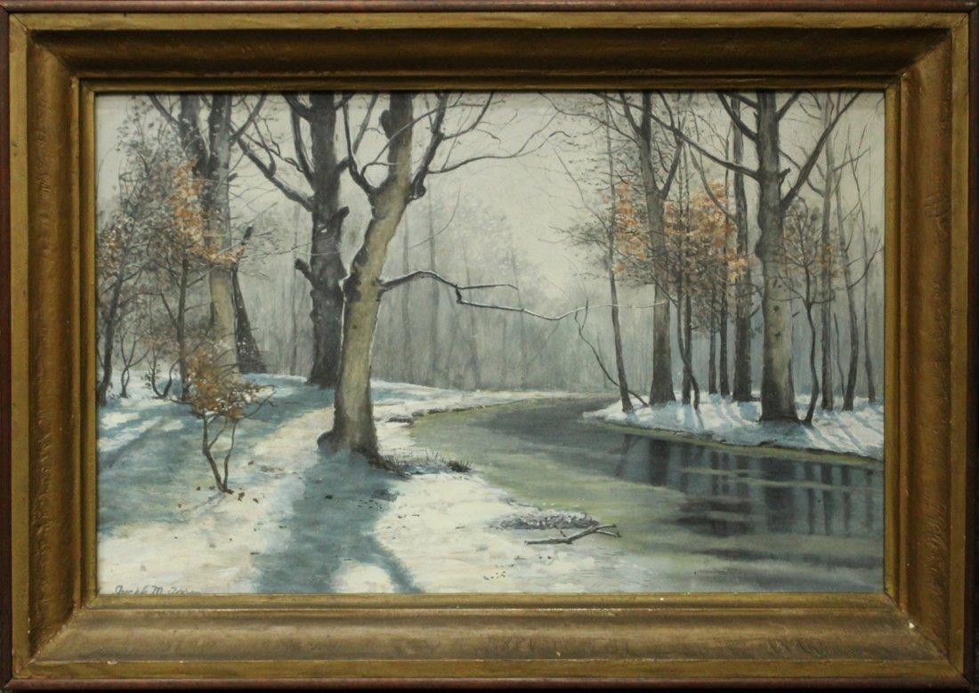 JOSEPH M AARON watercolor painting WINTER STREAM