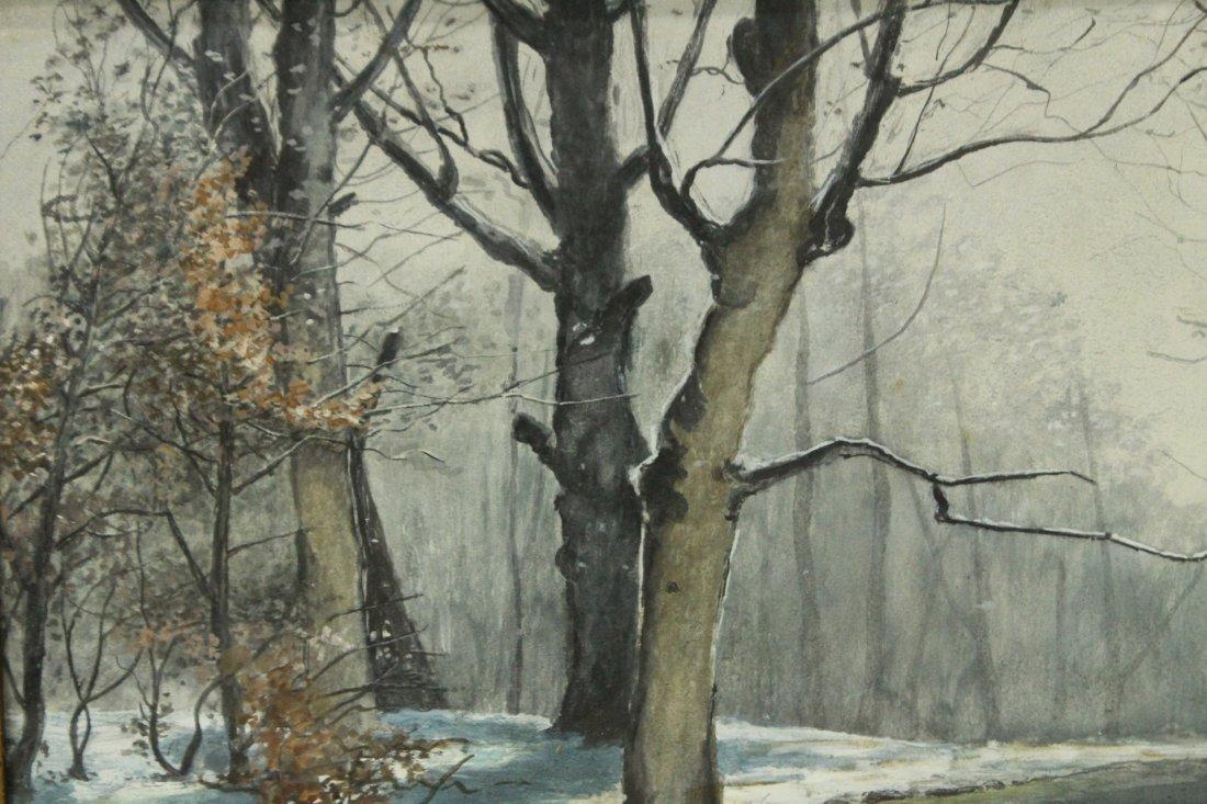 JOSEPH M AARON watercolor painting WINTER STREAM - 2