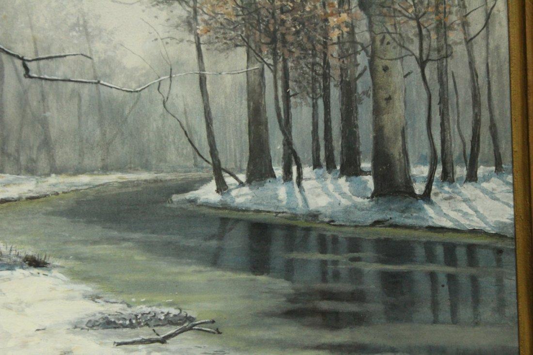 JOSEPH M AARON watercolor painting WINTER STREAM - 3