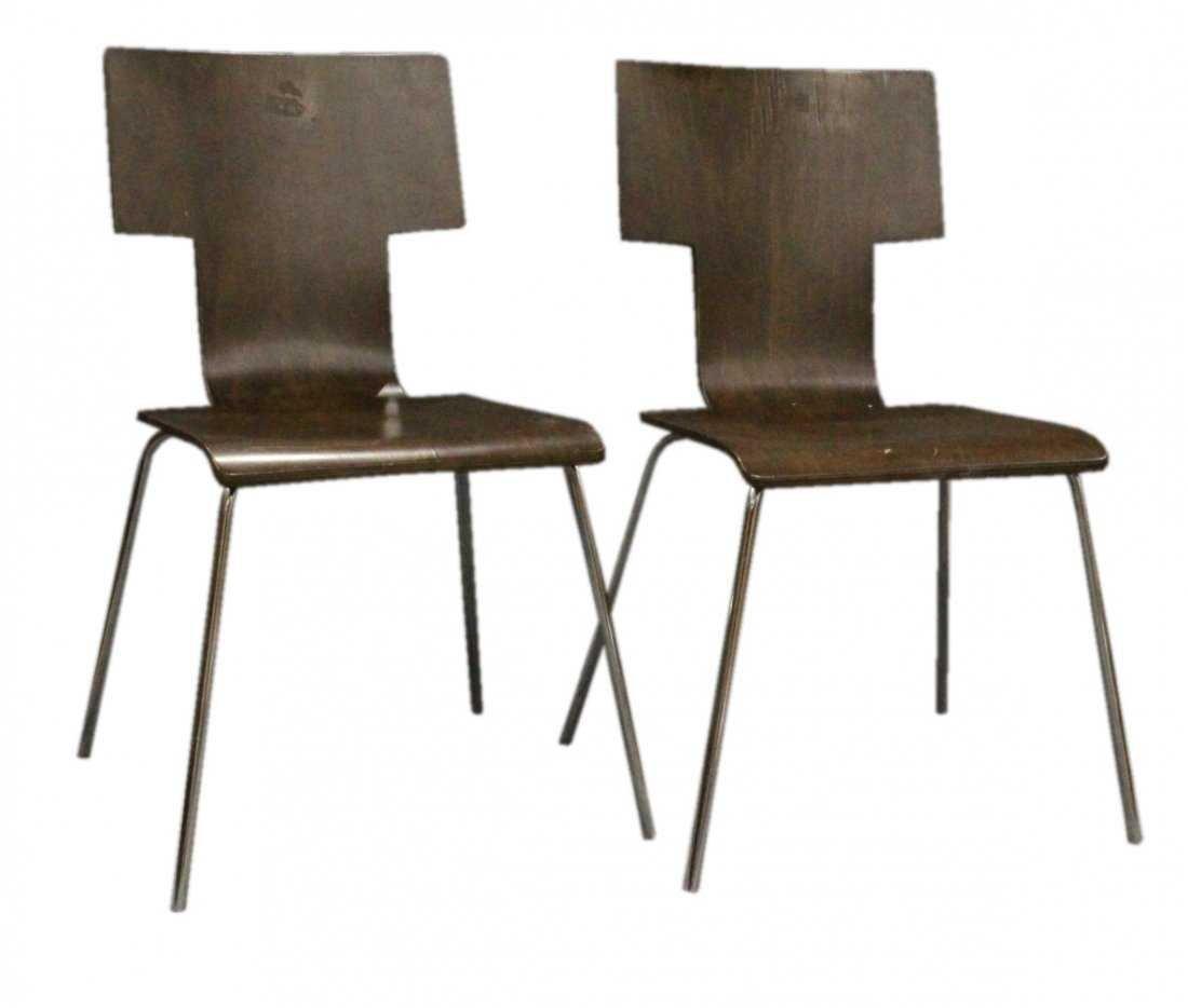 Pair ITALIAN MODERN DESIGN Bent Ply Side Chairs