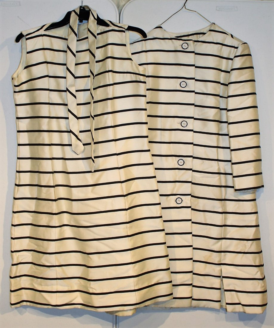 LORD & TAYLOR Black Striped Dress And Coat Size 8-10 - 2
