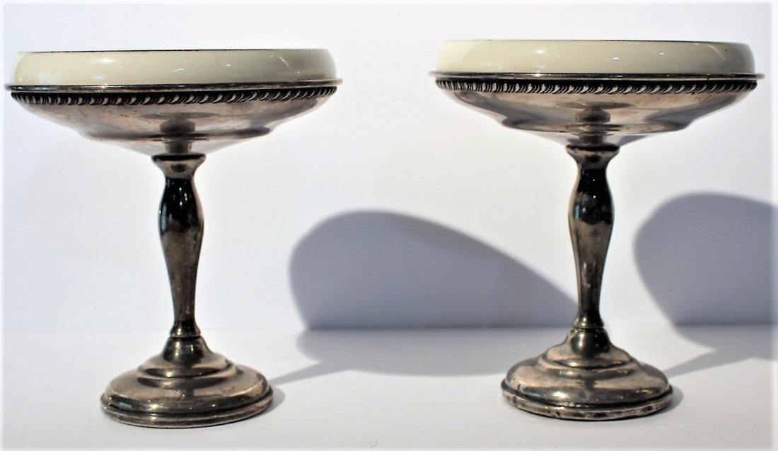Two [2] STERLING SILVER COMPOTES With LENOX INSERTS
