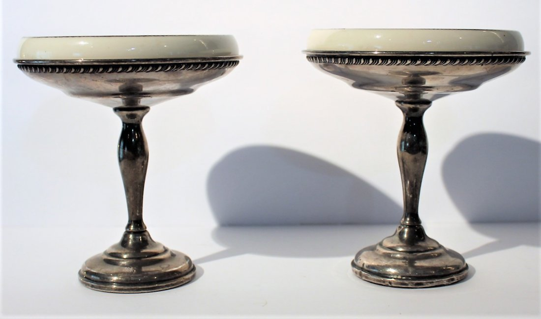Two [2] STERLING SILVER COMPOTES With LENOX INSERTS - 2