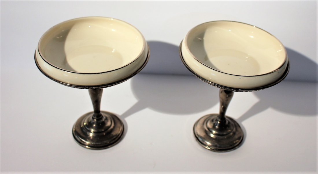 Two [2] STERLING SILVER COMPOTES With LENOX INSERTS - 4
