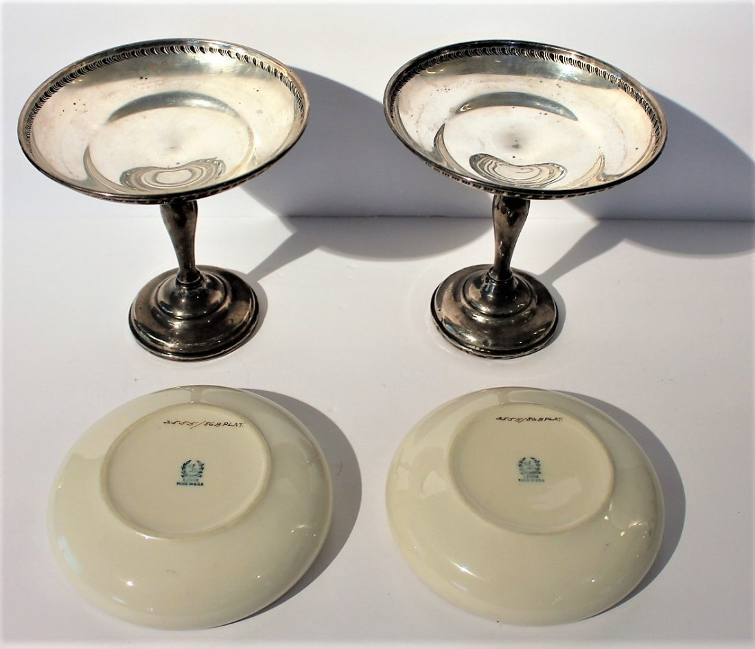 Two [2] STERLING SILVER COMPOTES With LENOX INSERTS - 5