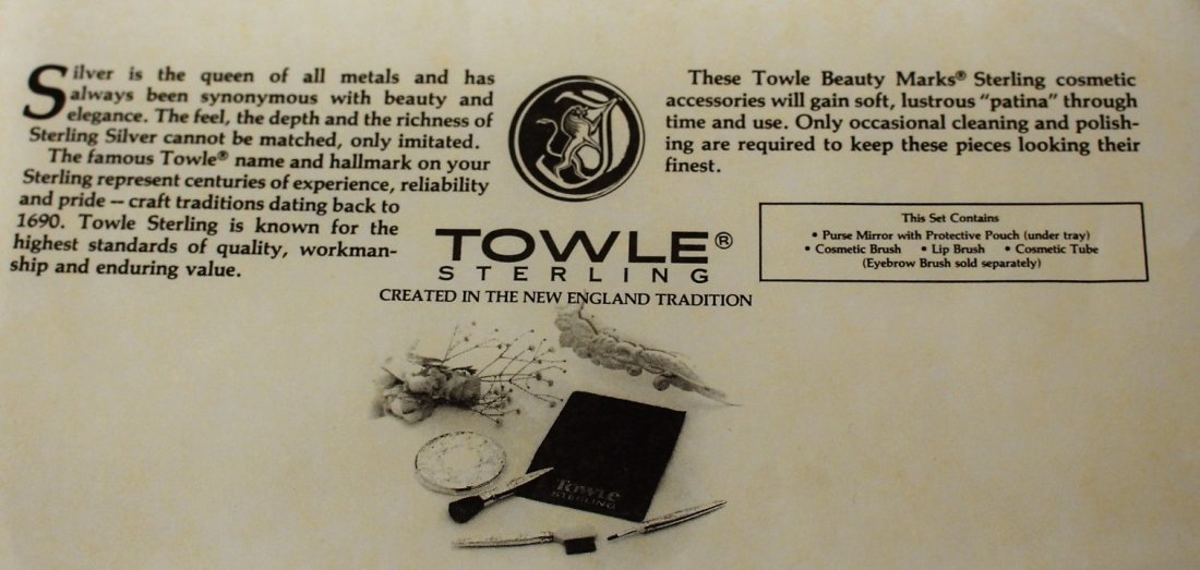 TOWLE STERLING Exquisite Cosmetics MAKE UP KIT in Case - 7