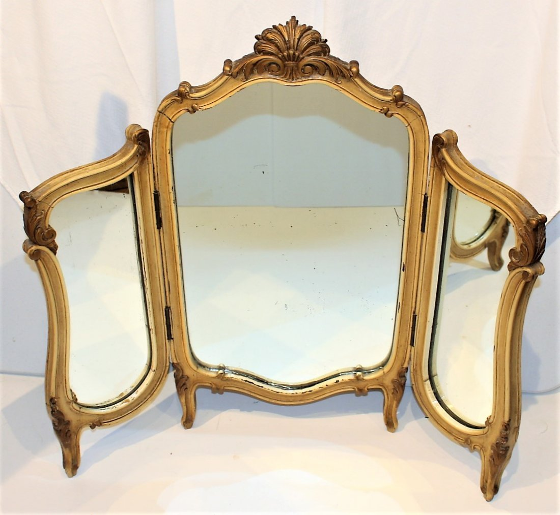 FRENCH TRI-FOLD Dresser Top Make-Up Vanity Mirror