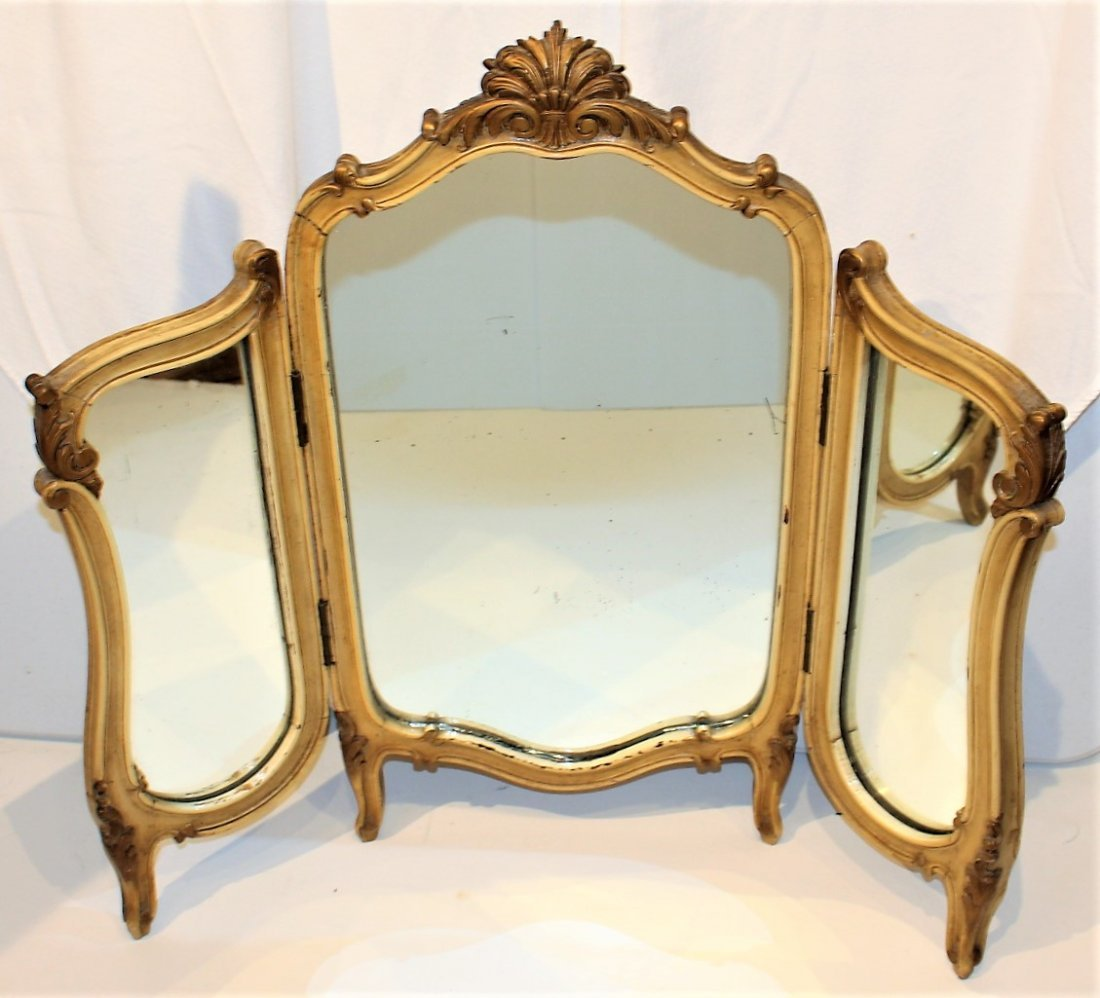 FRENCH TRI-FOLD Dresser Top Make-Up Vanity Mirror - 2