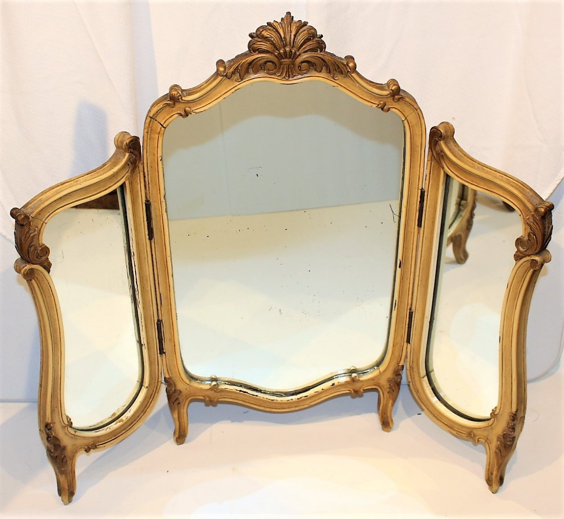 FRENCH TRI-FOLD Dresser Top Make-Up Vanity Mirror - 3