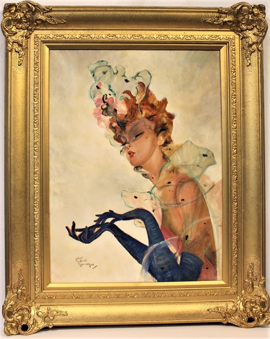 JEAN-GABRIEL DOMERGUE, FRENCH FASHION GIRL OIL PAINTING
