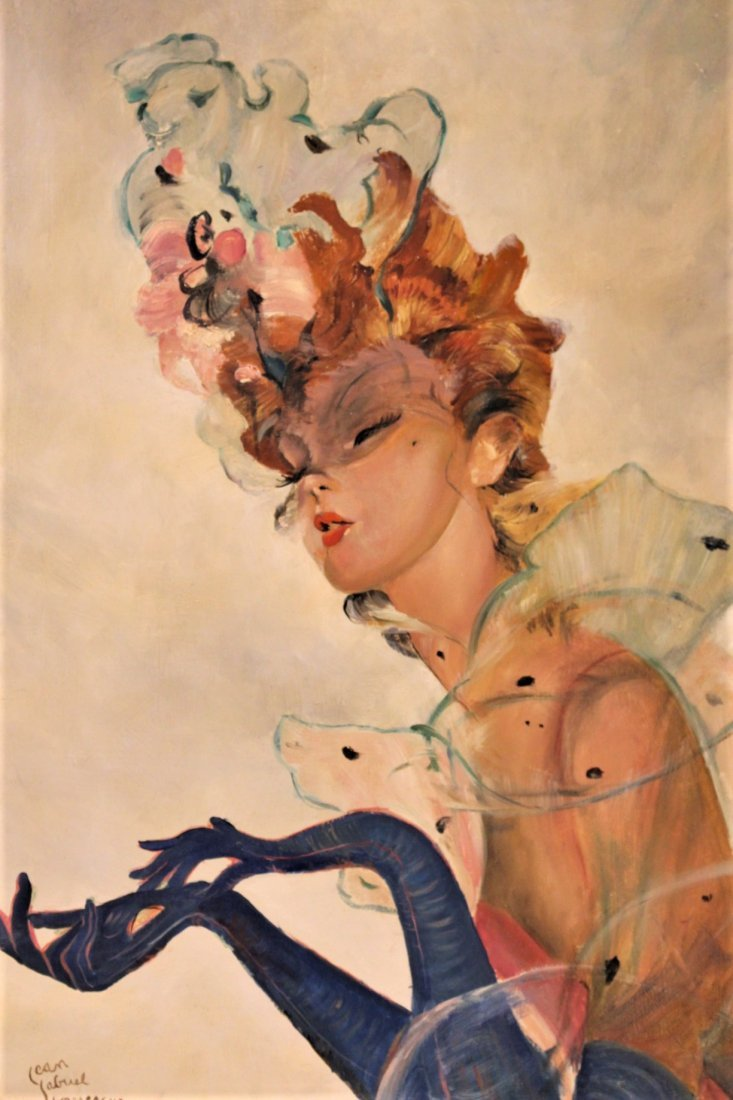 JEAN-GABRIEL DOMERGUE, FRENCH FASHION GIRL OIL PAINTING - 5