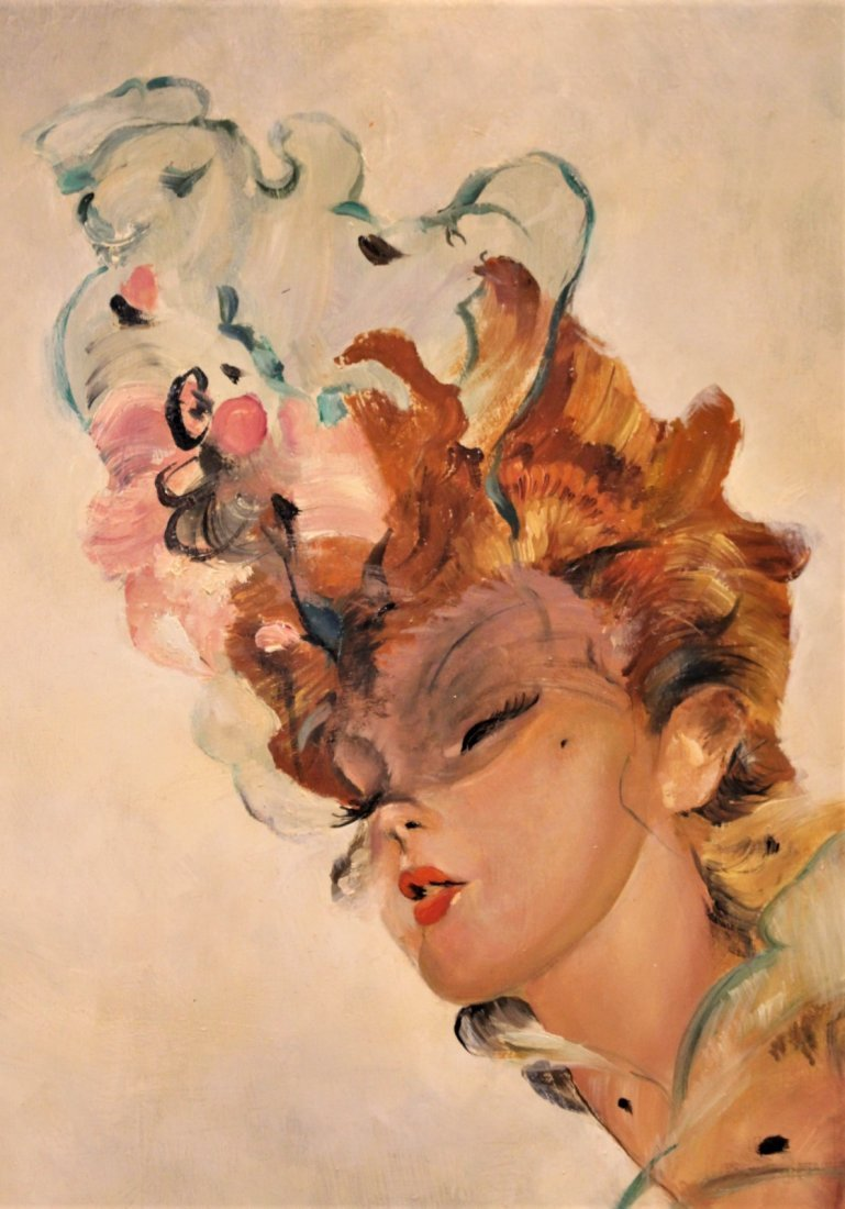 JEAN-GABRIEL DOMERGUE, FRENCH FASHION GIRL OIL PAINTING - 6
