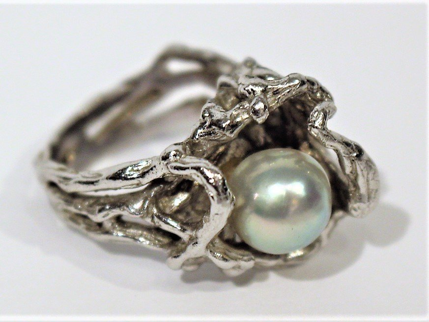 STERLING SILVER [Tested] RING With Faux Black Pearl
