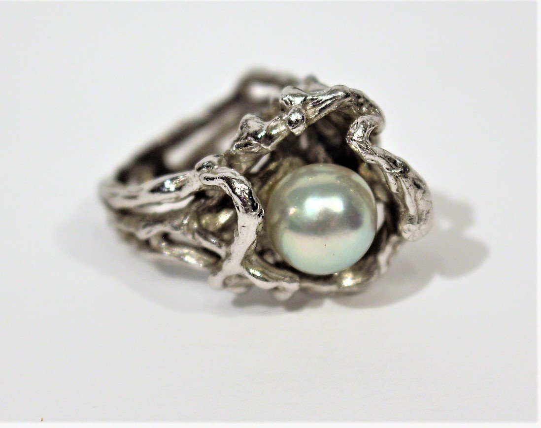 STERLING SILVER [Tested] RING With Faux Black Pearl - 5
