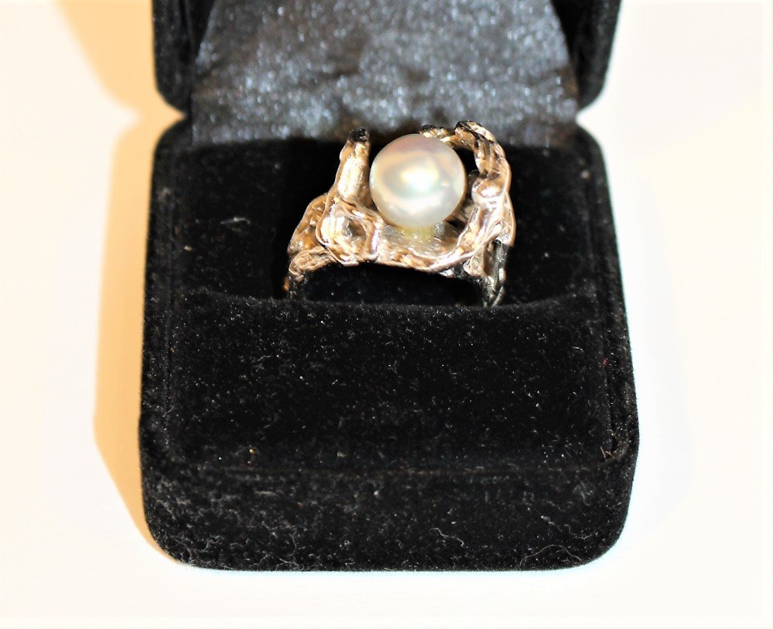 STERLING SILVER [Tested] RING With Faux Black Pearl - 7