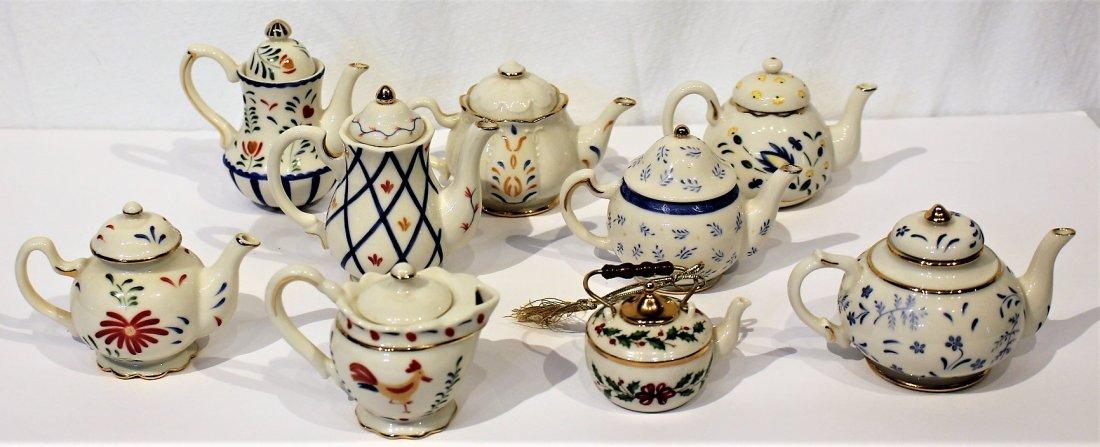 Nine [9] Assorted LENOX PORCELAIN MINIATURE TEA POTS