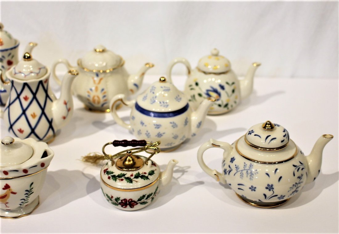 Nine [9] Assorted LENOX PORCELAIN MINIATURE TEA POTS - 3