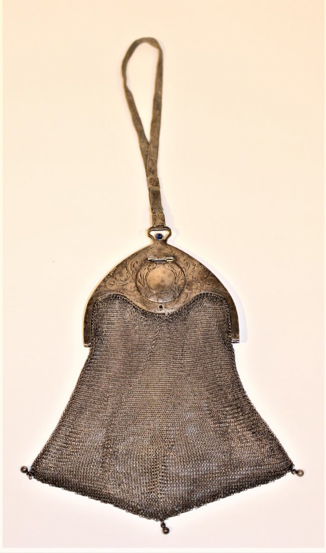 Circa 1920s SILVER MESH PURSE BAG - Art Deco Style