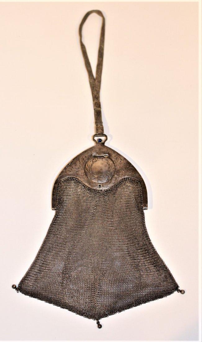 Circa 1920s SILVER MESH PURSE BAG - Art Deco Style - 2