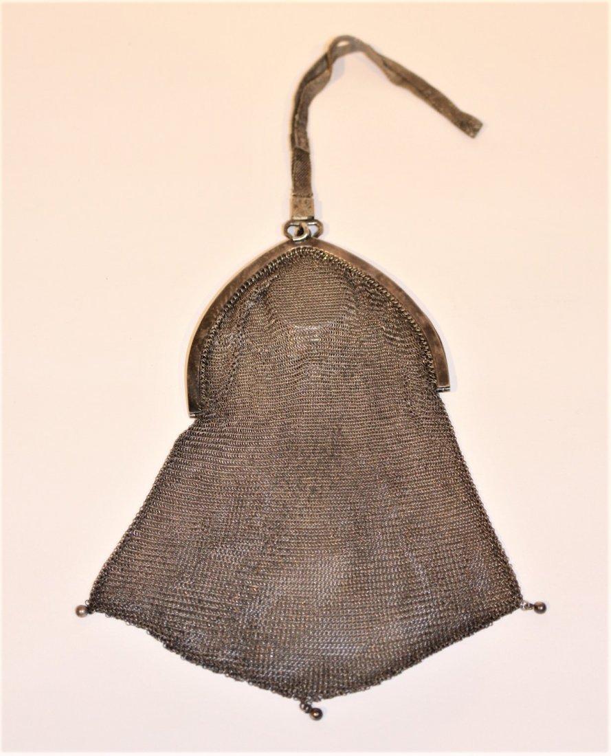 Circa 1920s SILVER MESH PURSE BAG - Art Deco Style - 6