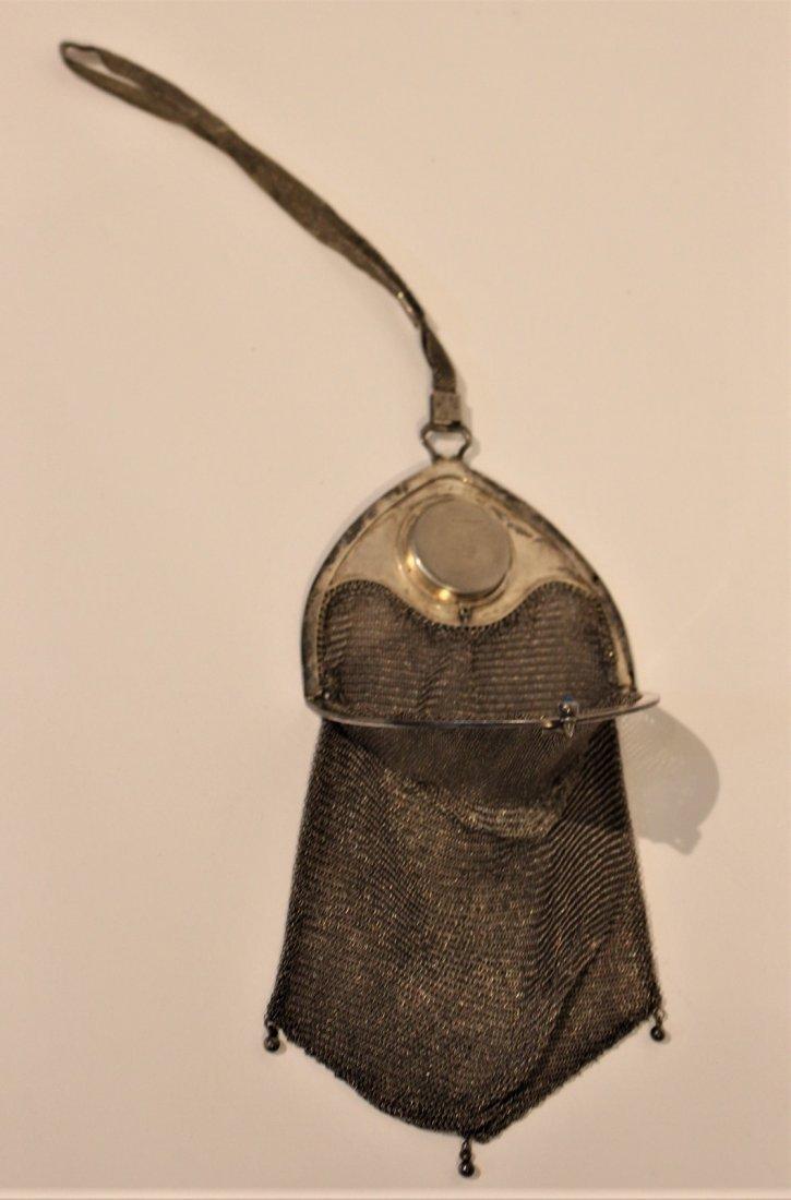 Circa 1920s SILVER MESH PURSE BAG - Art Deco Style - 8