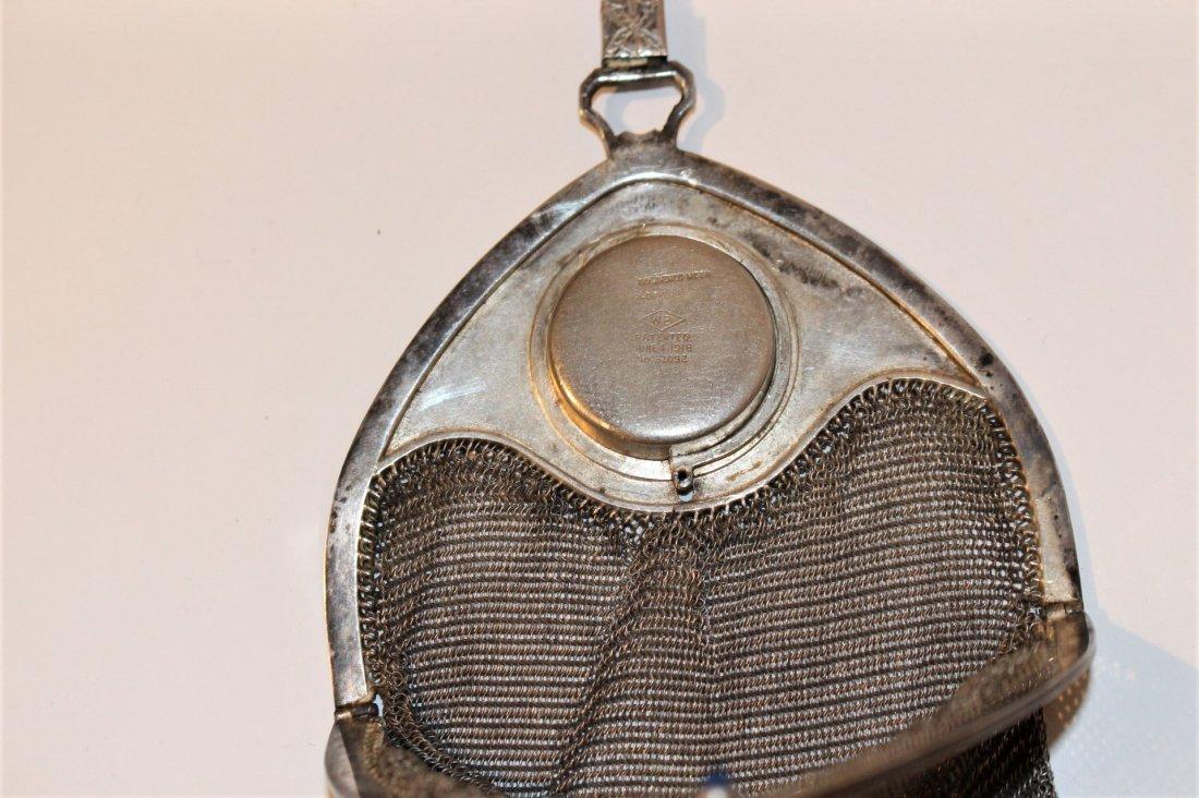 Circa 1920s SILVER MESH PURSE BAG - Art Deco Style - 9