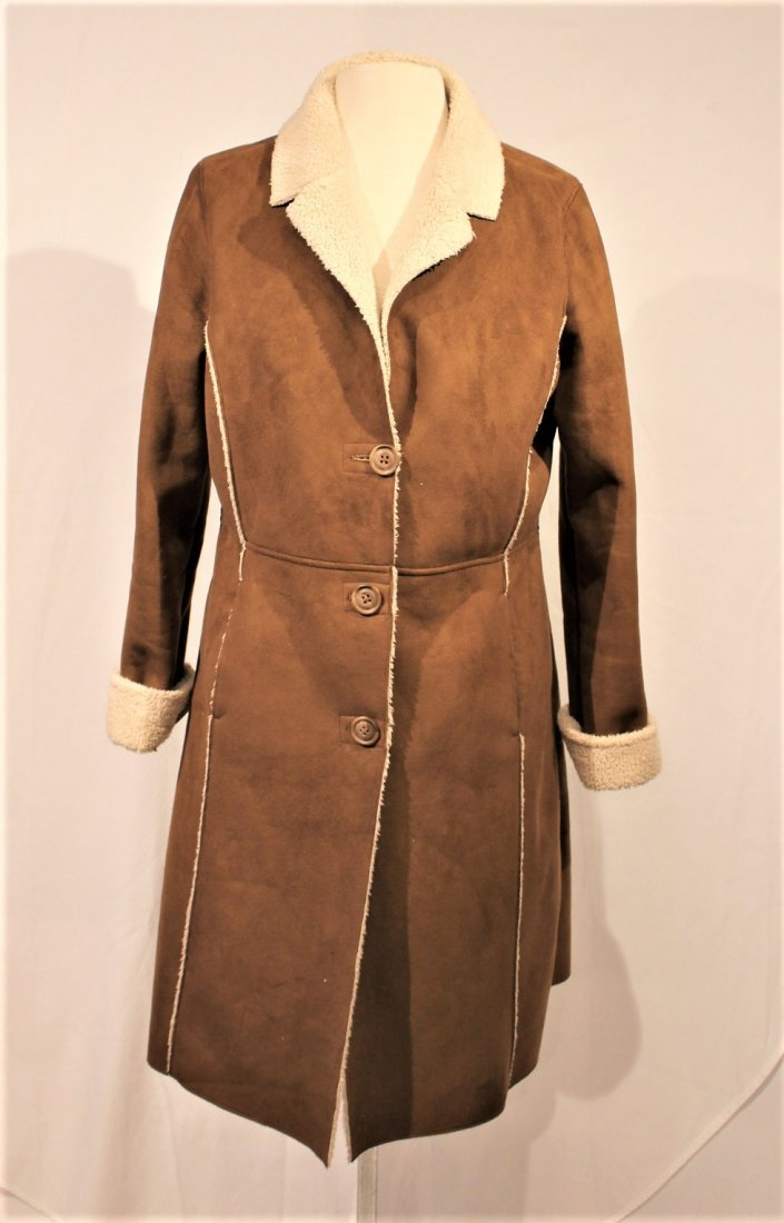 OLD NAVY Brown Swede 1970s Style Full Length Coat - 2