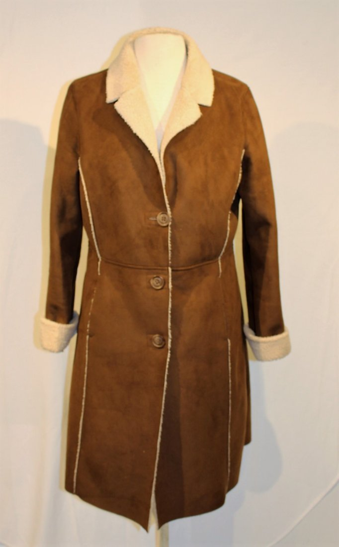 OLD NAVY Brown Swede 1970s Style Full Length Coat - 3