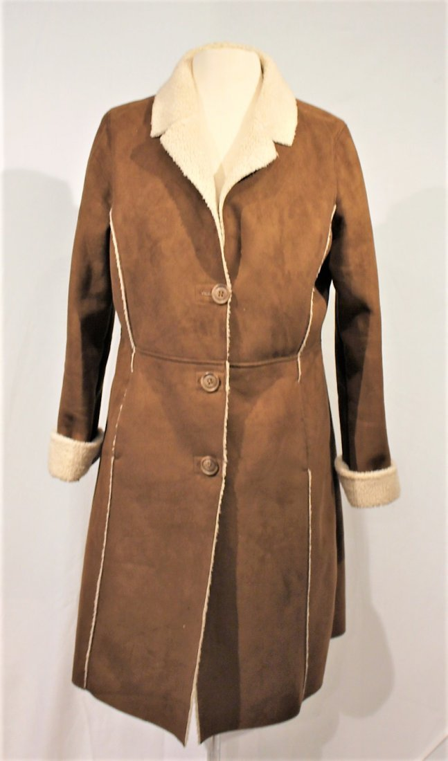 OLD NAVY Brown Swede 1970s Style Full Length Coat - 4