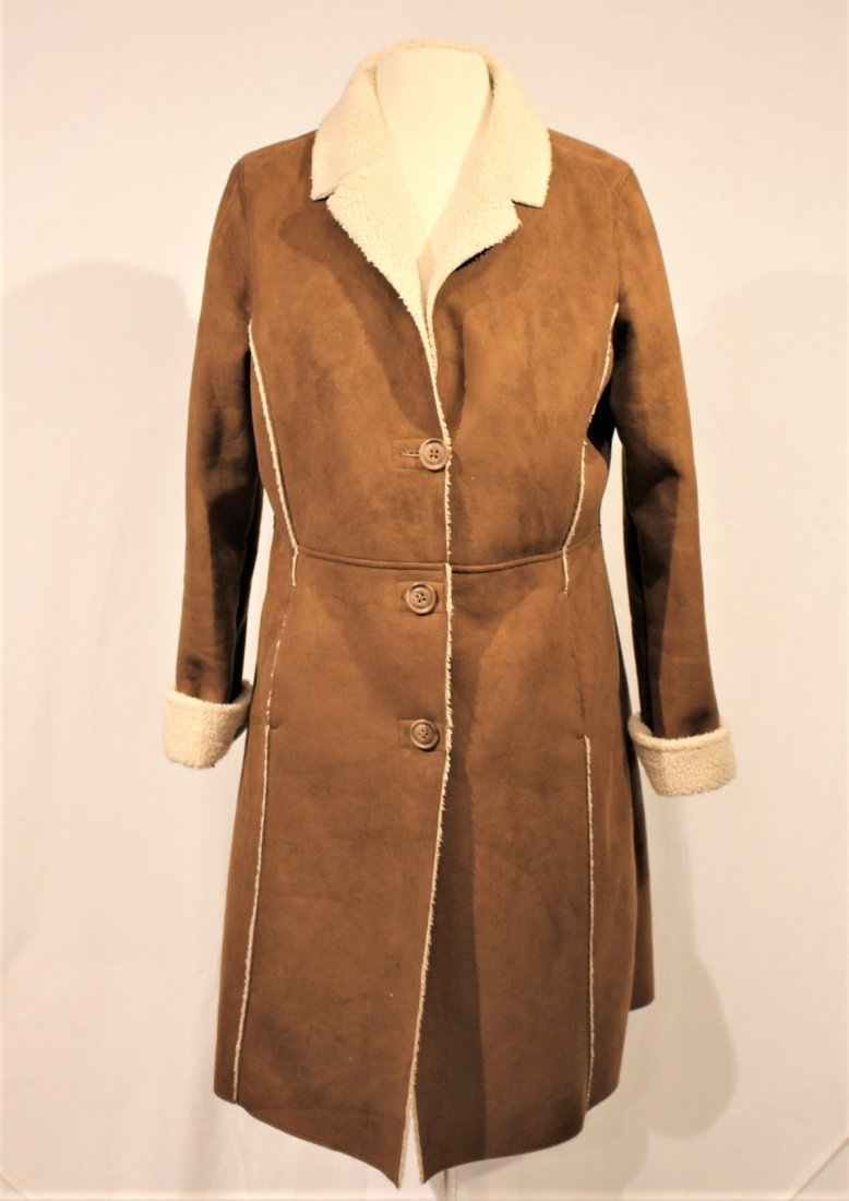 OLD NAVY Brown Swede 1970s Style Full Length Coat - 5