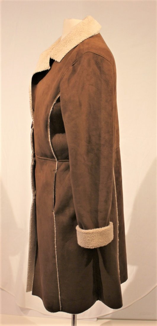 OLD NAVY Brown Swede 1970s Style Full Length Coat - 6