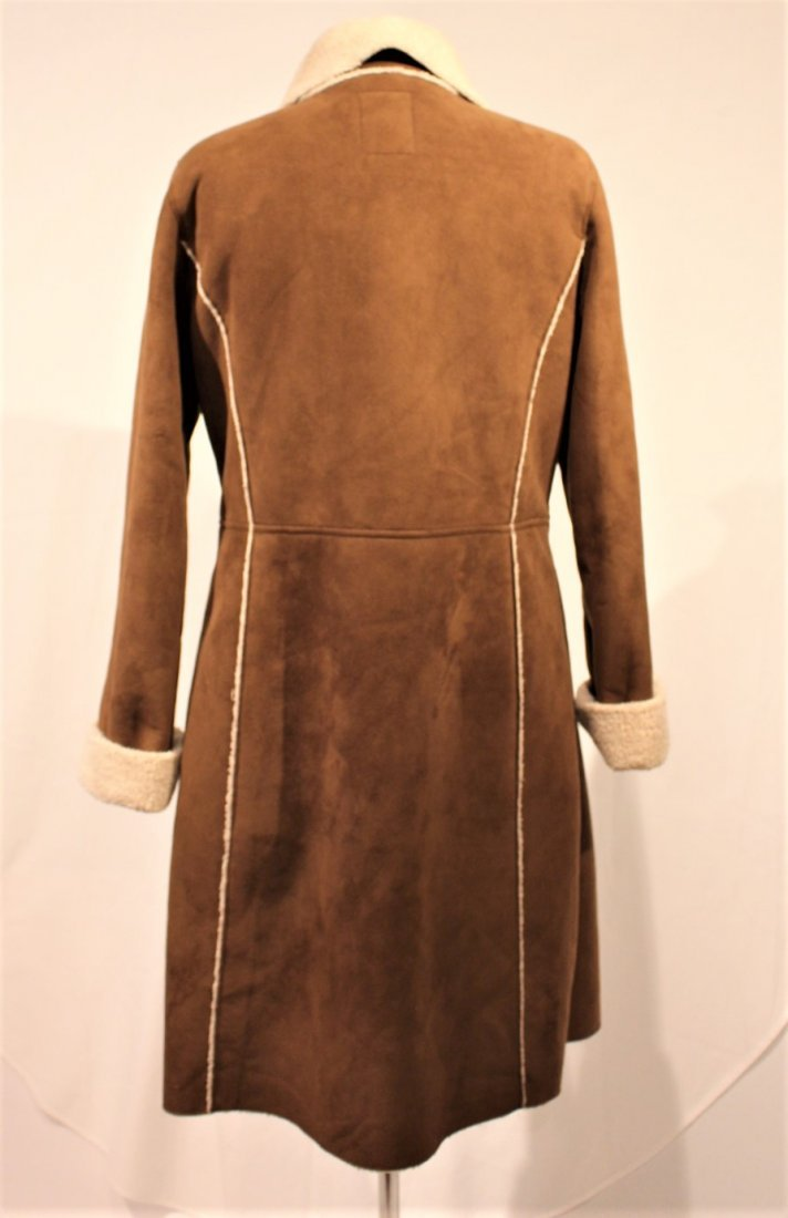 OLD NAVY Brown Swede 1970s Style Full Length Coat - 7