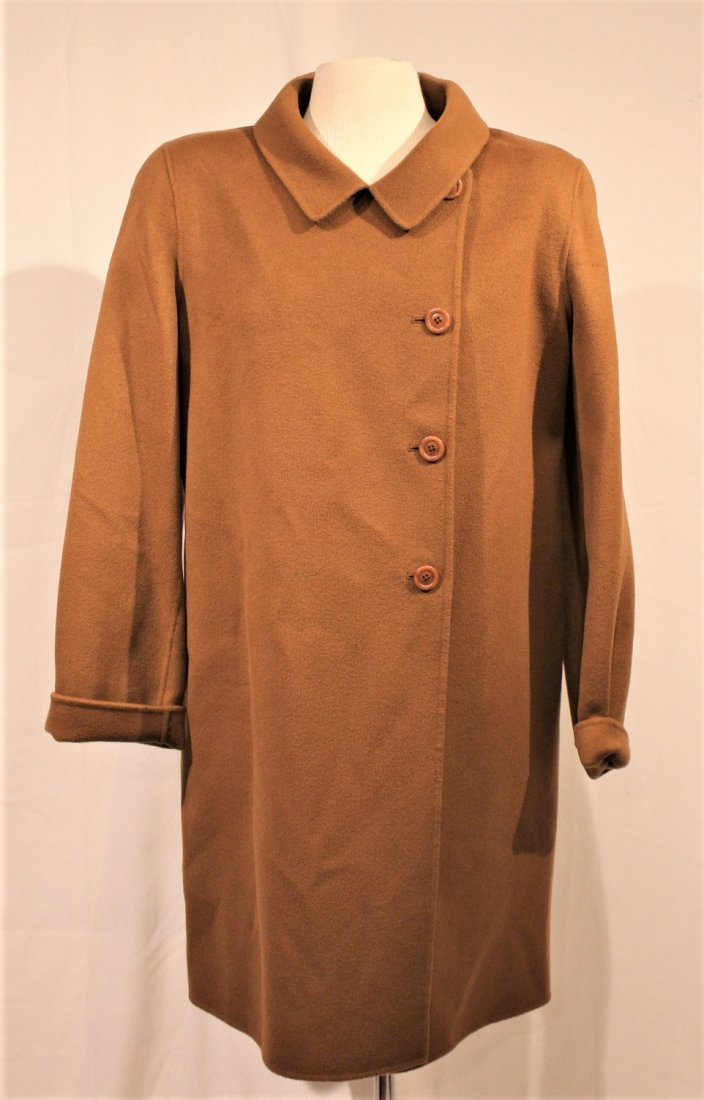 WOOL / CASHMERE FULL LENGTH BROWN COAT - Size 16