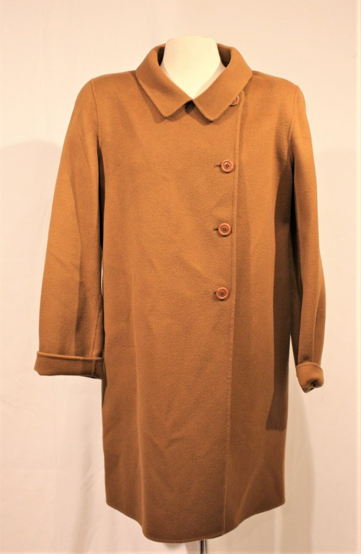 WOOL / CASHMERE FULL LENGTH BROWN COAT - Size 16 - 2