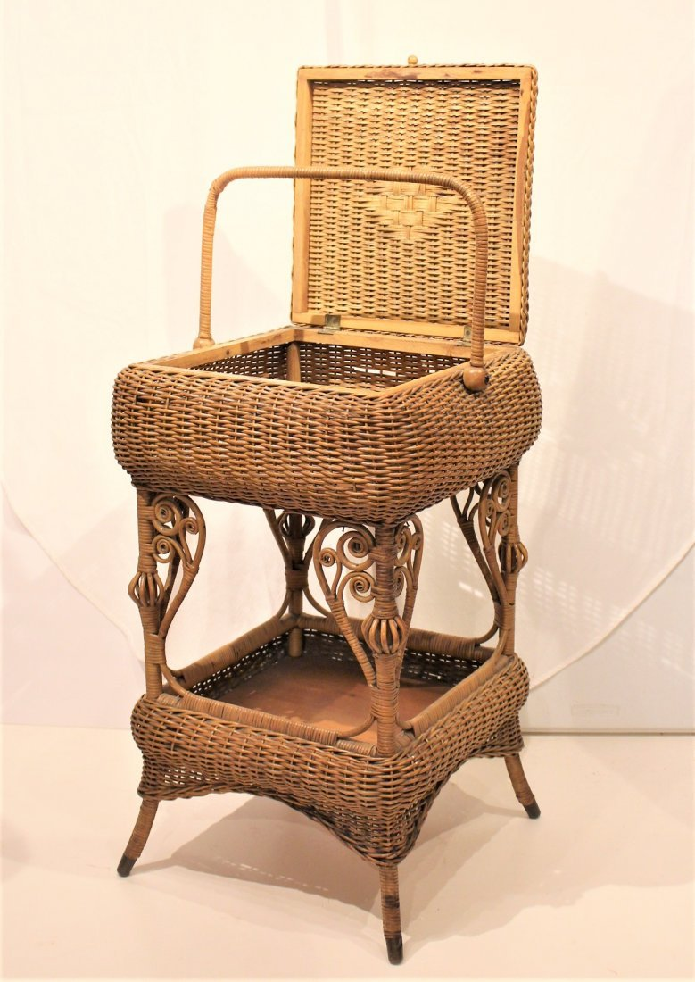 Heywood Brothers And Wakefield WICKER SEWING STAND