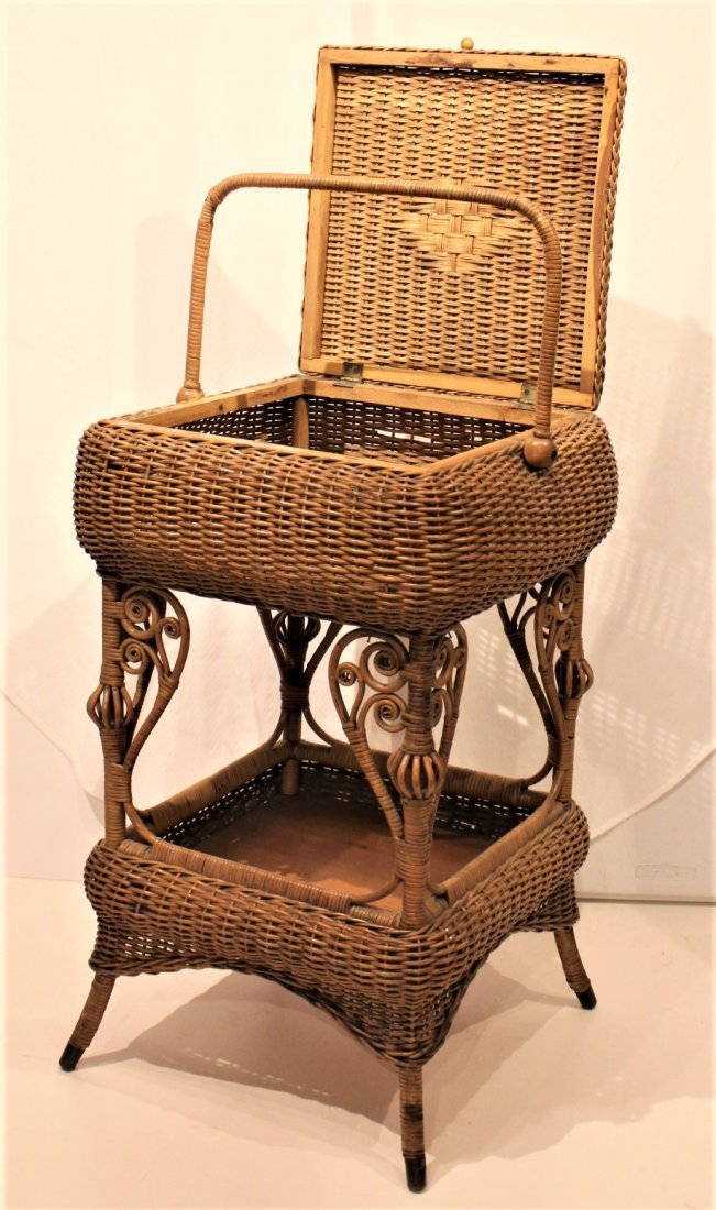 Heywood Brothers And Wakefield WICKER SEWING STAND - 2