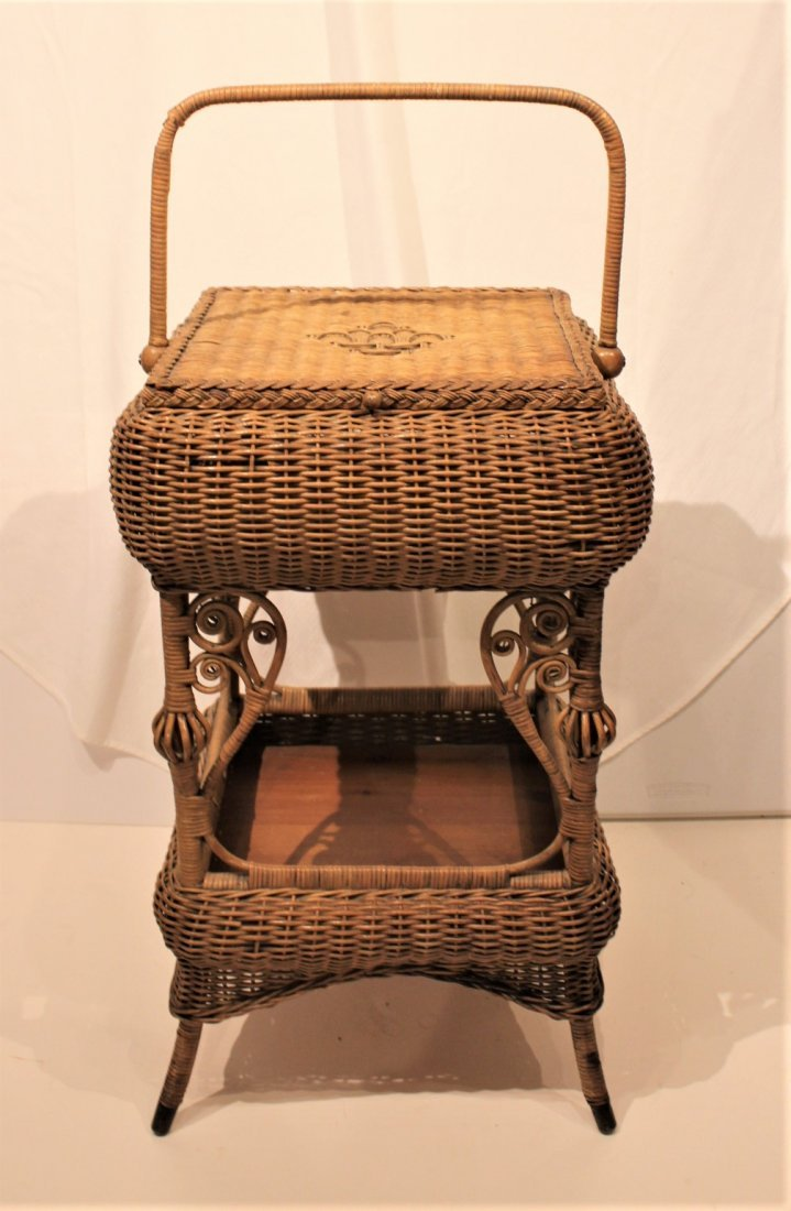 Heywood Brothers And Wakefield WICKER SEWING STAND - 5