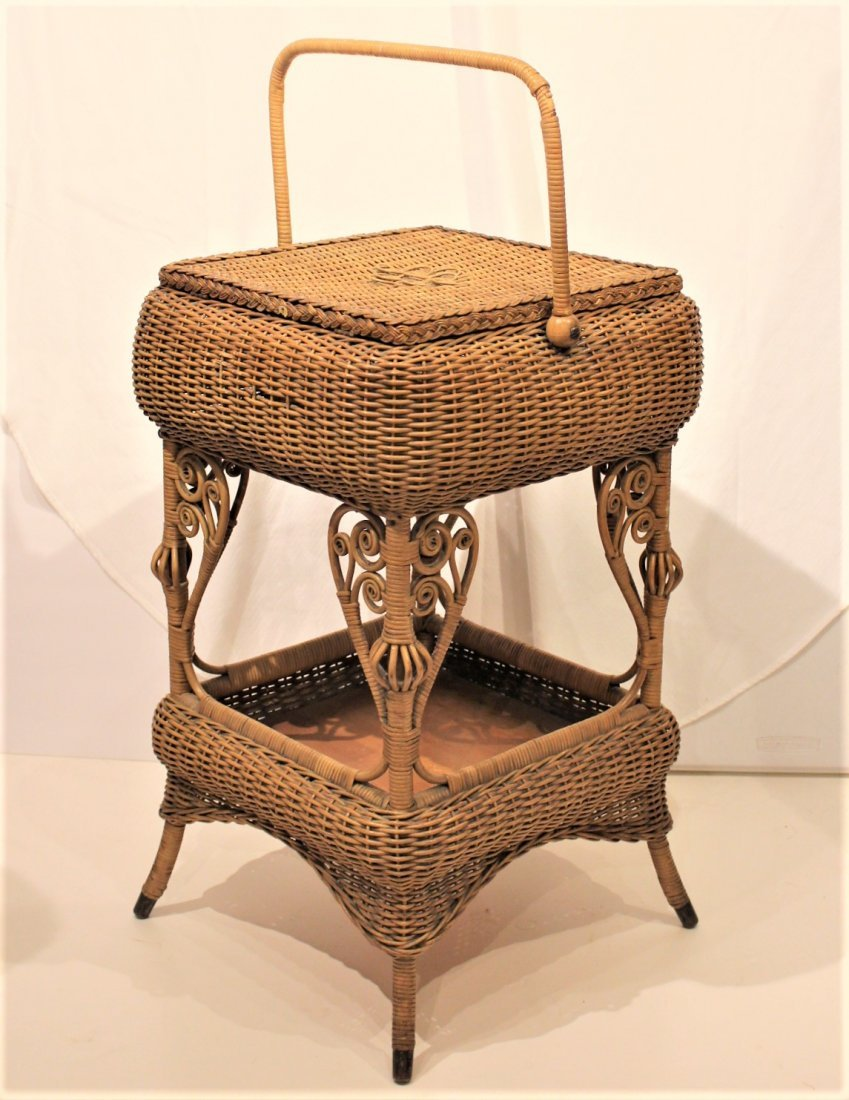 Heywood Brothers And Wakefield WICKER SEWING STAND - 6