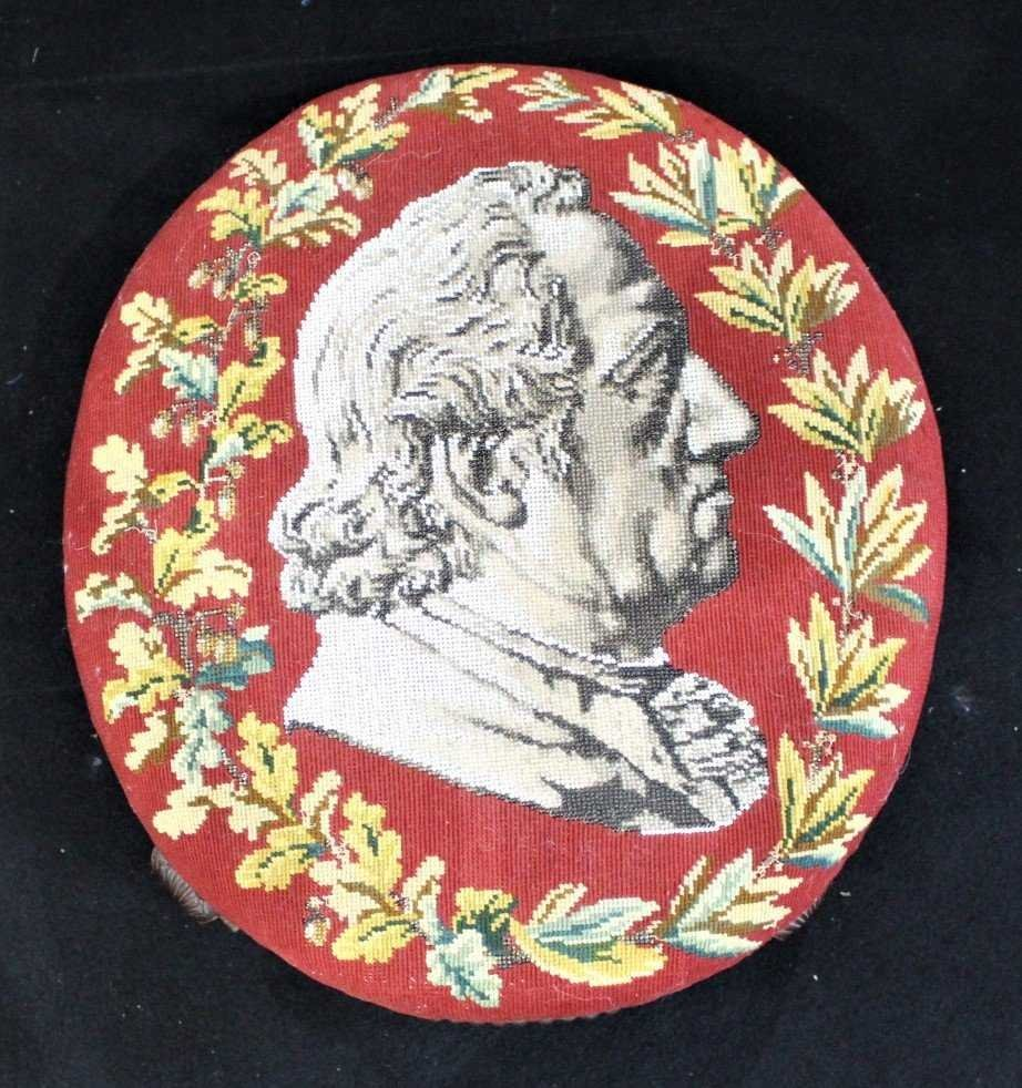 Antique TEXTILE UPHOSTERY FOOTSTOOL Historical Portrait